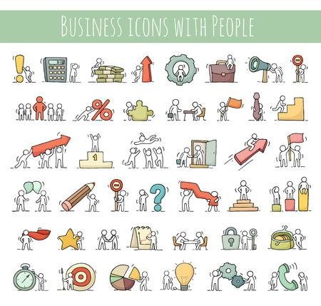 ビジネスのアイコンは、チームワークのお金で少し社会人スケッチのセットします。労働者の落書きかわいいミニチュア シーン。手には、ビジネス
