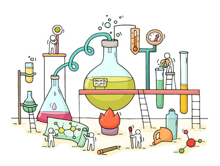 Sketch of chemical experiment with working little people, beaker. Doodle cute miniature of teamwork and materials research. Hand drawn cartoon vector illustration for biology and chemistry.
