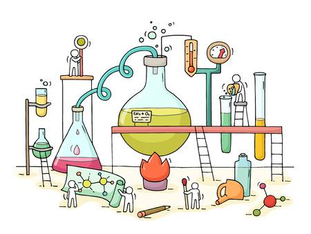 Sketch di esperimento chimico con il lavoro poco la gente, coppa. Doodle carino in miniatura di lavoro di squadra e di ricerca sui materiali. disegnato a mano illustrazione vettoriale cartone animato per la biologia e la chimica. Vettoriali