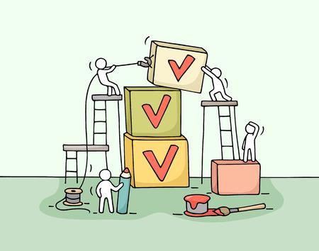 Croquis de travailler peu de gens avec pyramide de cubes, cocher. Doodle travail d'équipe miniature mignon et liste de contrôle. Main caricature dessinée illustration vectorielle pour la conception d'affaires et infographique. Banque d'images - 63716058