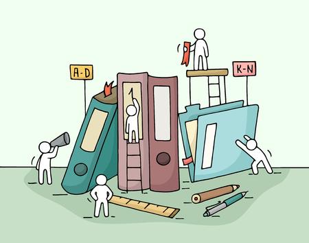 Skizze des Arbeits kleinen Leute mit Ordnern, Bürobedarf. Doodle niedliche Miniatur Teamarbeit und Arbeitsplatz. Hand gezeichnete Cartoon-Vektor-Illustration für Business-Design und Infografik.