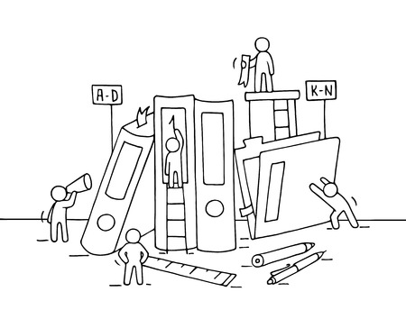 Sketch of working little people with folders, office supplies. Doodle cute miniature teamwork and workplace. Hand drawn cartoon vector illustration for business design and infographic.