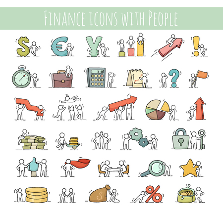 Finance and business icons set of sketch working little people with arrow, money, currency. Doodle cute miniature scenes of workers. Hand drawn cartoon vector illustration for business and finance design, infographic. Ilustração