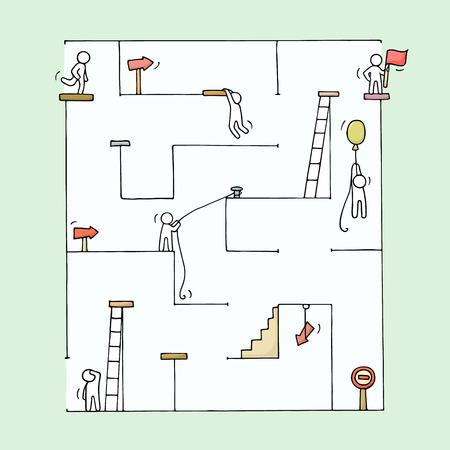 Schets van kleine mensen met een labyrint. Doodle schattige miniatuur uitdaging voor het team en het doel. Hand getekende cartoon vector illustratie voor business design en concepten. Stockfoto - 63716392