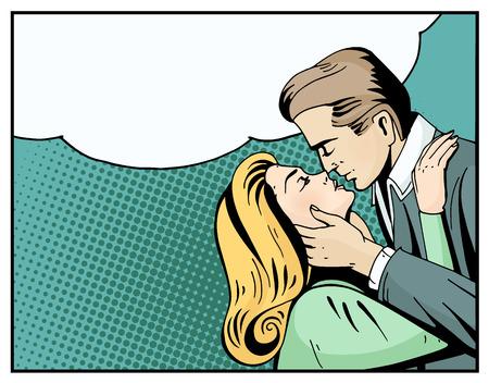Pop art mooie vrouw en man zoenen. Cartoon romantische paar in de liefde. Vintage reclameposter voor Valentijnsdag met lege tekstballon. Comic hand getekende vector illustratie.