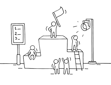Sketch of working little people with pedestal, teamwork. Doodle cute miniature scene of workers preparing for the ceremony. Hand drawn cartoon vector illustration for business design and infographic.