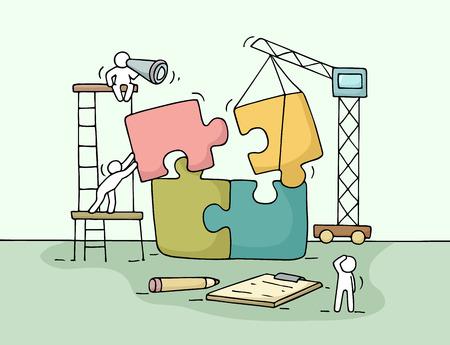Bosquejo de trabajo pequeñas personas con rompecabezas, el trabajo en equipo. Garabatos escena en miniatura lindo de los trabajadores recogen las piezas del rompecabezas. ilustración vectorial de dibujos animados dibujados a mano para el diseño de negocios y infografía. Ilustración de vector