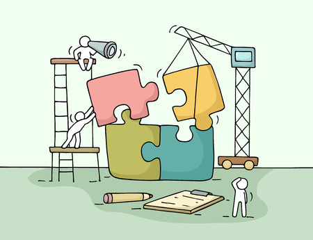 Sketch of working little people with puzzle, teamwork. Doodle cute miniature scene of workers collect puzzle pieces. Hand drawn cartoon vector illustration for business design and infographic.