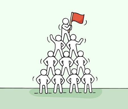 Croquis de la pyramide avec le travail peu de gens. Doodle travail d'équipe miniature mignon et partenariat. Main caricature dessinée illustration vectorielle pour la conception d'affaires et infographique. Banque d'images - 63716536