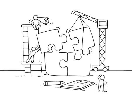 チームワークのパズルと小さな社会人のスケッチ。労働者収集パズルのピースの落書きかわいいミニチュア シーン。手には、ビジネス デザイン、イ