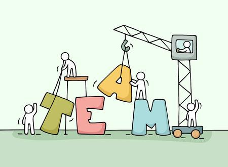 Bosquejo de trabajo en equipo con poca gente trabajando. Doodle cute miniatura de la construcción de la palabra. ilustración vectorial de dibujos animados dibujados a mano para el diseño de negocios y conceptos.