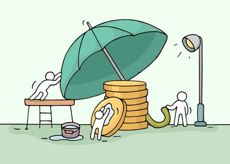 Bosquejo de trabajo pequeños salvar a la gente pila de monedas, paraguas. Doodle el trabajo en equipo cute miniatura sobre el ahorro de dinero. ilustración vectorial de dibujos animados dibujados a mano para el diseño de negocios y las finanzas.