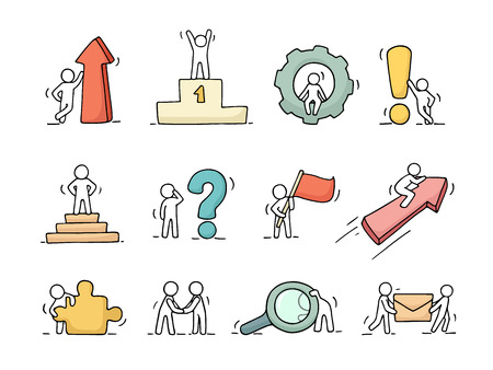 Business icons set of sketch working little people with arrow, flag, gear. Doodle cute miniature scenes of workers. Hand drawn cartoon vector illustration for business design and infographic.