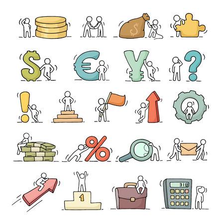 金融とビジネスのアイコンは矢印、お金、通貨と小さな社会人スケッチのセットします。労働者の落書きかわいいミニチュア シーン。手には、ビジ