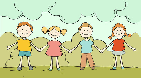 girls holding hands: Cute happy kids standing together. Doodle cartoon boys and girls holding hands and smiling. Hand drawn summer vector illustration isolated on white background. Illustration