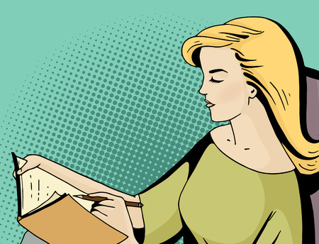 Pop art blonde woman seat and keep a diary. Comic girl hold a pen and write in a book. Vintage hand drawn vector illustration isolated on blue halftone background.
