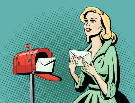 팝 아트 연애 편지와 사서함 아름 다운 여자입니다. 만화 금발 할리우드 영화 배우가 엽서를받습니다. 빈티지 광고 낭만적 인 포스터입니다. 만화 손으