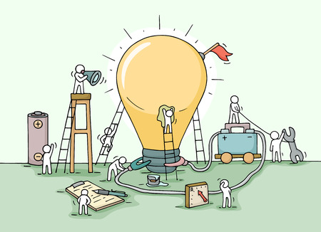 Sketch of lamp idea construction with working little people, battery, flag. Doodle cute miniature of building lighting lamp and preparing for the new creative. Hand drawn cartoon vector illustration for business design and infographic. Stock Illustratie