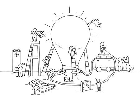 ほとんどの人々、バッテリー、フラグを使ってランプ アイデア建設のスケッチ。落書きかわいいミニチュア照明ランプを構築し、新しい創造のため  イラスト・ベクター素材