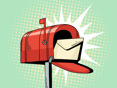 Cartoon pop art red mailbox send letter. Comic hand drawn illustration - mail delivery with envelope. Vector isolated on blue halftone background.