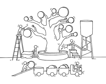 collect: Sketch of working little people harvest a money tree with golden coins. Doodle cute miniature witn workers collect money and preparing for the big profit. Hand drawn cartoon vector illustration for business design and infographic. Illustration