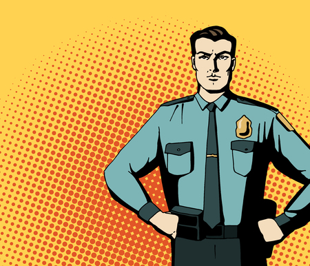 Pop art strong policeman. Cartoon beautiful man in blue niform. Vintage advertising poster. Comic hand drawn vector illustration.