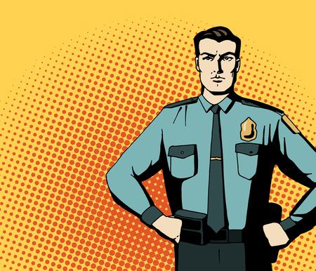 Pop art forte poliziotto. Cartoon bella uomo in niform blu. manifesto pubblicitario d'epoca. Comic disegnata a mano illustrazione vettoriale. Archivio Fotografico - 63718093