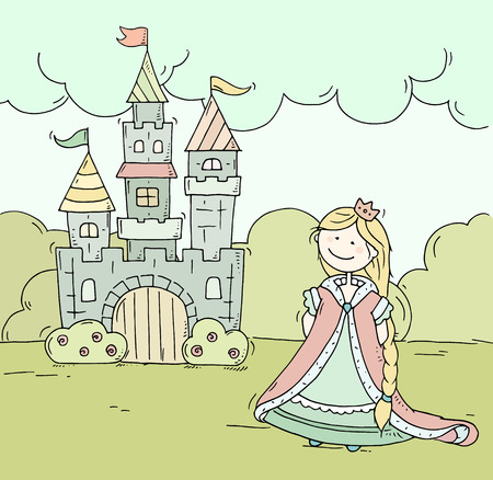 Cute cartoon castle for prince and princess with towers and flags. Doodle magic fairy tale kingdom. Hand drawn vector illustration on summer background.
