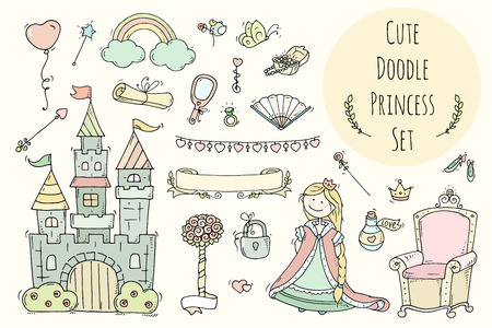 jewerly: Cute cartoon princess collection with throne, castle, jewerly, crown. Doodle fairytale set for kids. Hand drawn vector illustration isolated on white. All objects are grouped separately.