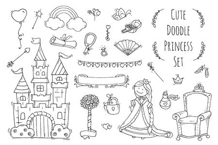 Accumulazione sveglia principessa del fumetto con il trono, il castello, jewerly, corona. Doodle set da favola per i bambini. Disegnata a mano illustrazione vettoriale isolato su bianco. Tutti gli oggetti sono raggruppati separatamente. Archivio Fotografico - 63718097