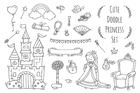 separately: Cute cartoon princess collection with throne, castle, jewerly, crown. Doodle fairytale set for kids. Hand drawn vector illustration isolated on white. All objects are grouped separately.