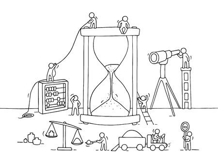 Esquisse de la construction sandglass avec peu de gens qui travaillent, le sable, Spyglass. Doodle miniature mignon de travail d'équipe et la date limite. dessin animé tiré par la main illustration vectorielle pour la conception d'affaires et infographique.