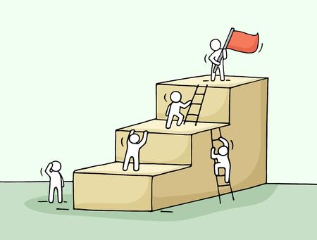 Croquis de l'échelle de carrière avec l'escalade petites gens. Doodle miniature mignon d'escaliers avec le leader sur le dessus. Main caricature dessinée illustration vectorielle pour la conception de l'entreprise. Vecteurs