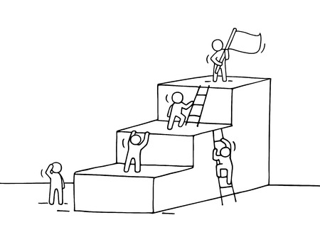 jobs people: Sketch of career ladder with climbing little people. Doodle cute miniature of stairs with leader on the top. Hand drawn cartoon vector illustration for business design. Illustration