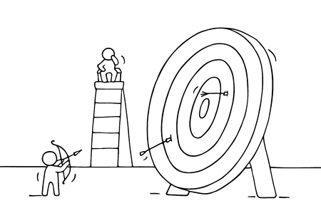 archer cartoon: Sketch of archer and target with little people. Doodle cute miniature of circle target and preparing for target hit. Hand drawn cartoon vector illustration for business design.