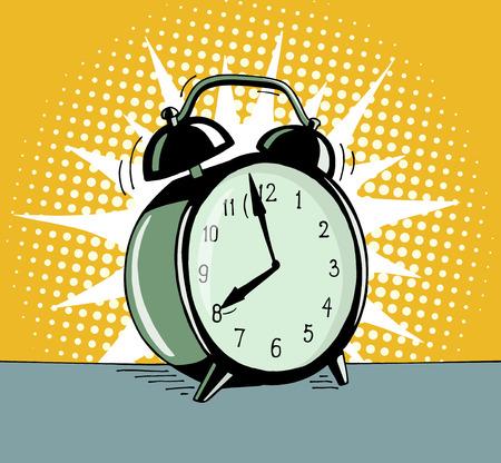 pop de dibujos animados reloj de alarma técnica. Cómico retro de la mano dibuja ilustración - La alarma está sonando para despertarse por la mañana. Vector aislada en el fondo de medios tonos de color amarillo. Ilustración de vector