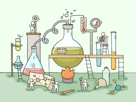 Schets van chemisch experiment met werkende kleine mensen, beker. Doodle schattige miniatuur van teamwork en materiaalonderzoek. Hand getekende cartoon vector illustratie voor biologie en chemie.