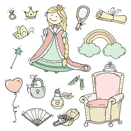 jewerly: Cute cartoon princess collection with throne, jewerly, crown. Doodle fairytale set for kids. Hand drawn vector illustration isolated on white. All objects are grouped. Illustration