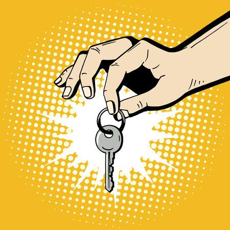 Main de pop art tenant une clé de la maison. Illustration romantique comique dessinés à la main - l'homme fait un cadeau. Vecteur isolé sur fond jaune de demi-teinte. Vecteurs