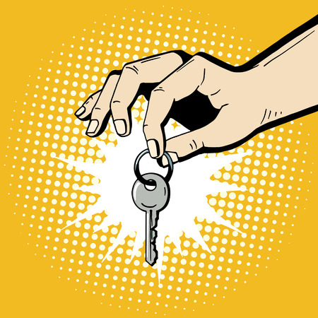 Pop art hand holding a house key. Comic hand drawn romantic illustration - man makes a present. Vector isolated on yellow halftone background.