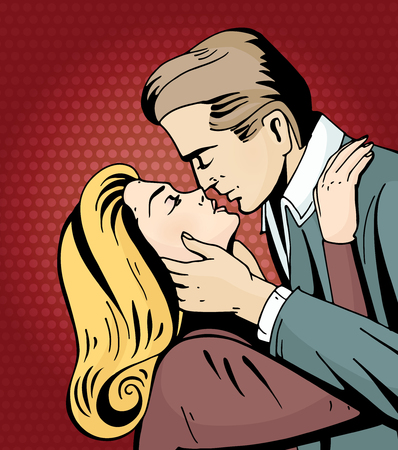 Pop art beautiful woman and man kissing. Cartoon romantic couple in love. Vintage advertising poster for Valentine Day. Comic hand drawn vector illustration. Illustration