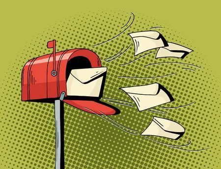 Boîte aux lettres pop-in de dessin animé envoyer des lettres. Illustration dessinée à main courante - livraison de courrier avec des lettres volantes. Vector isolé sur fond de demi-teinte vert.