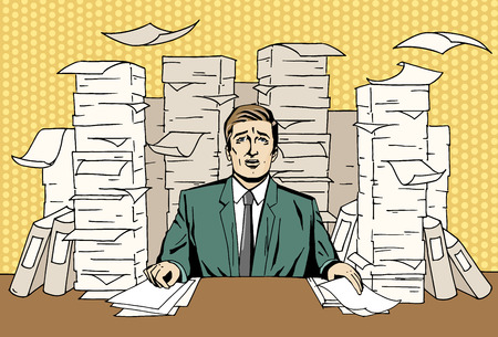 Pop art businessman at work. Comic tired man sit with high piles of papers. Retro styled vector illustration. 일러스트