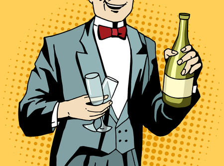 champagne celebration: Pop art waiter with champagne and wineglasses at work. Comic styled man prepare for celebration. Retro styled vector illustration. Illustration