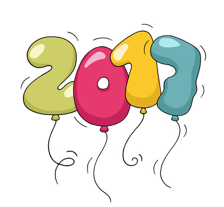 scraps: Cute colorful bubble shaped numbers for New Year Eve template. Cartoon air balloons in the form of 2017 numbers. Doodle vector for christmas  party, kids desigh, funny invitations.