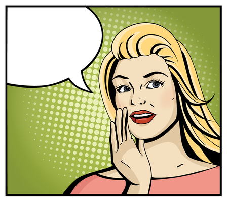 girl open mouth: Pop art blonde woman smile and speak. Comic girl hold hand near open month with blank speech bubble. Vintage hand drawn vector illustration isolated on green halftone background.