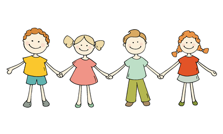girls holding hands: Cute happy kids standing together. Doodle cartoon boys and girls holding hands and smiling. Hand drawn vector illustration isolated on white background. Illustration