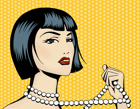 jewerly: Pop art beautiful woman with a strand of beads. Cartoon brunette   movie star.Vintage advertising poster. Comic hand drawn vector illustration. Illustration