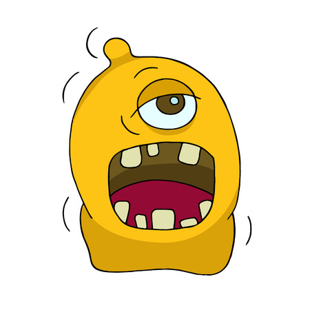 one eye: Cute bright monster or alien with one eye. Cartoon funny doodle cyclop smiling. Hand drawn yellow vector illustration isolated on white background. Illustration