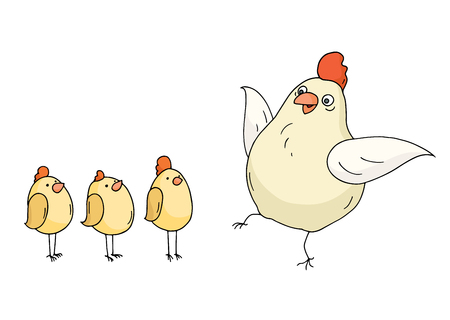 chuck: Doodle funny hen and chikens standing together. Cartoon chiken family isolated on white background. Hand drawn vector illustration.